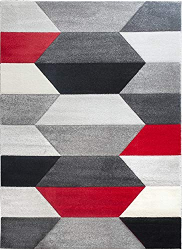 SrS Rugs Impulse Collection, Rug for Living Room, Bedroom, Hallway, Contemporary Abstract Geometric Hexa Design with 10mm Soft Pile. 8 Colours, 6 Sizes (Red, 120cm x 170cm)