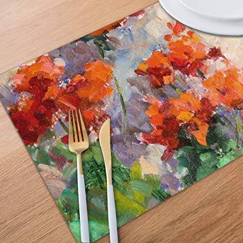 Bghnifs Oil Painting Safflower Placemats Table Mats Set of 6 Washable Non Slip Heat Insulation Place Mats Dining Room Kitchen Decor 12 X 18
