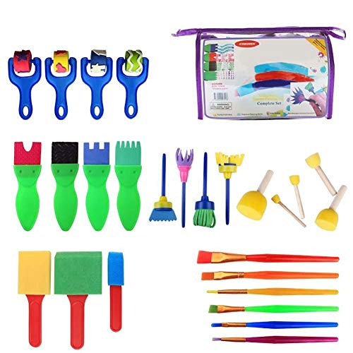 Haodou 26 piezas Herramientas para la primera infancia Dibujo 26 Kit de pintura de cepillo de esponja Esponja bricolaje manualidades cepillo de moldes de pintura infantil para la educación