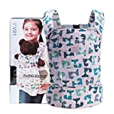 Bebamour Baby Doll Carrier for Kids, 100% Cotton, Reborn Doll Carrier Sling for Girls and Boys (Light Pink Fox)