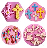 HiParty Cross Cake Fondant Mold, Angel with Wings Silicone Gum Paste Mold, Baptism Party Cake Pop Cupcake Topper Decoration Supplies Polymer Clay Resin Mold Baby Shower Chocolate Candy Mold