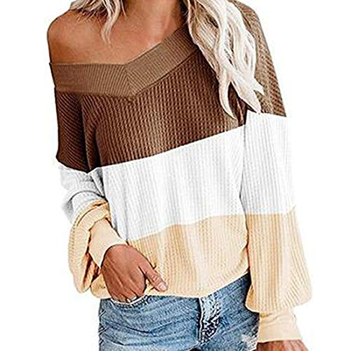 Damen Bluse Langarm Mode Patchwork Farbblock Rippen Pullover Frauen Casual Schulter...