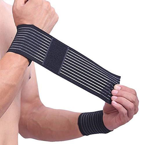 1PC algodón Fitness elástico vendaje mano ajustable correa de muñeca Wrap Sport Wristband Support Gym Wrist Protector túnel carpiano (negro)
