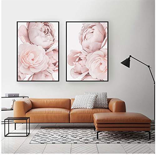 prunushome Pintura sobre Lienzo Carteles e Impresiones nórdicos Peonía Rosa Floral para la Sala Decoración del hogar Cuadros de pared-19.6'x 27.5' (50x70cm) x2 Sin Marco