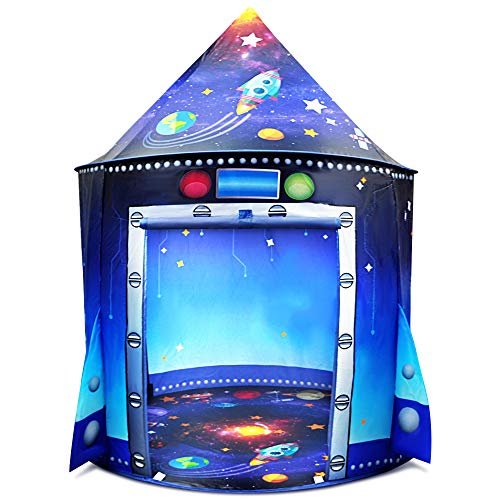 Nice2you Play Tent Unique Space Tent for Indoor and Outdoor Fun, Portable Pop Up Play Rocket Tent Foldable Playhouse with Carry Bag, Gift for Kids