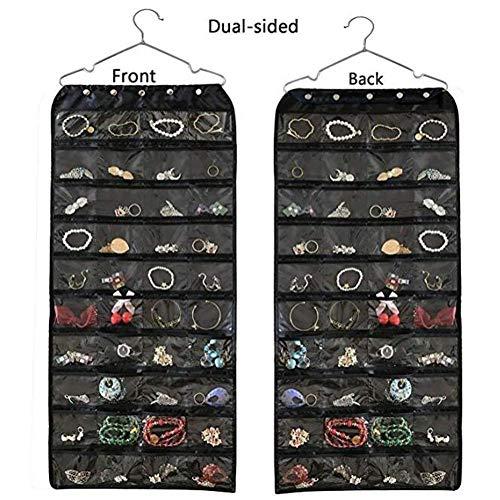 Organizador de joyas colgantes, bolsa de almacenamiento plegable para pan de viaje con 56 rejillas Oxford, doble cierre de cremallera para viajes, armario, maleta