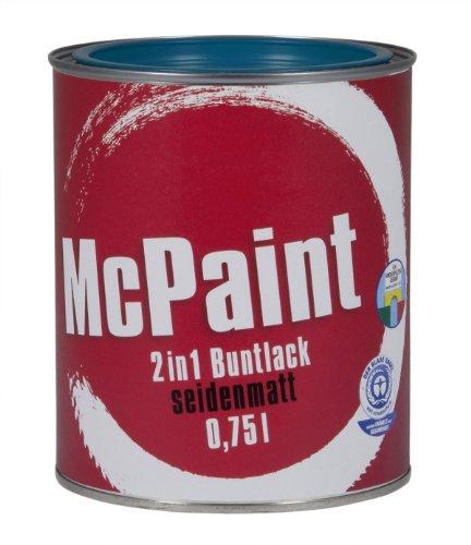 McPaint 2in1 Buntlack Grundierung und Lack in einem für Innen und Außen. PU verstärkt - speziell für Möbel und Kinderspielzeug seidenmatt Farbton: RAL 5010 Enzianblau 0,75 Liter - Bastellack