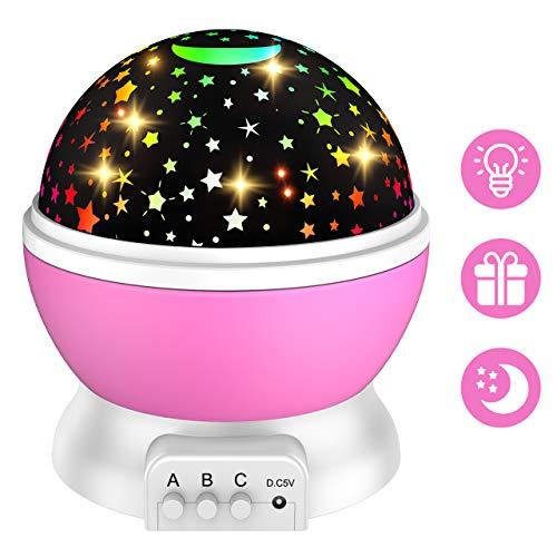 Dreamingbox Mädchen Geschenk 3-12 Jahre, Nachtlicht Sternenhimmel Spielzeug 3-10 Jahren Mädchen Geburtstagsgeschenk für Mädchen Spielzeug ab 3 4 5 6 7 8 9 10 Jahren für Mädchen Rosa