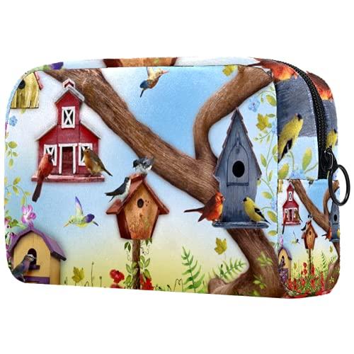 Große Schminktasche Reißverschlusstasche Travel Cosmetic Organizer für Frauen und Mädchen - Gartenmohnblumen und Vogelhäuser