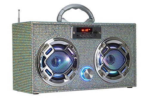 Mini Boombox with LED Speakers -Retro Bluetooth Speaker w/Enhanced FM Radio - Perfect for Home and Outdoor (Iridescent Bling)