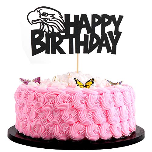 Artczlay Bald Eagle Happy Birthday Cake Topper Black Flash Birthday Party Cake Decoration