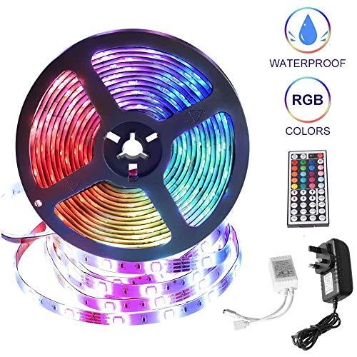 Strisce LED Luci 5M16.4Ft impermeabile IP65 remoti 5050 strisce 12V luce RGB 44 chiave IR con 20 colori 12 modalità for la decorazione domestica all'aperto WDDT