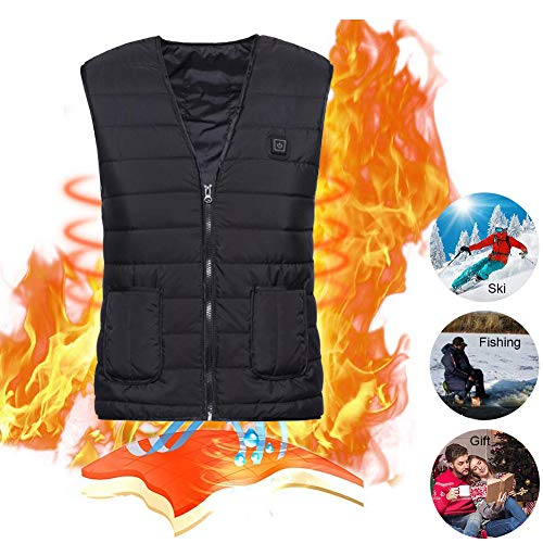 Lyeiaa Beheizte Weste für Herren Damen, Elektrische Beheizte Jacke mit USB-Lade Heizweste, Waschbare Warme Heat Jacke mit 3 Fakultativ Temperatur, für Outdoor Sports Wandern Jagd Motorrad Camping
