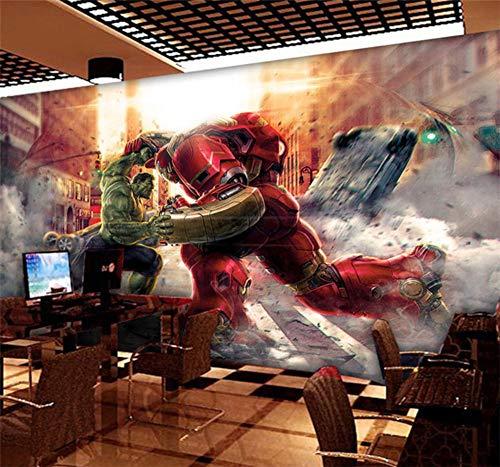Personalizado de dibujos animados 3D Marvel Hero League AnimeMural Dormitorio Wallpaper Iron Man Wallpaper Hotel tema cuadro pintura decorativa, 100 * 280