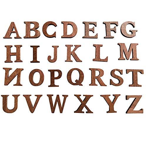 34 letras letras de madera natural, letras de rompecabezas de madera de la A a la Z, Alfabeto ortografía madera,adecuado para la decoración del hogar de bricolaje la escuela