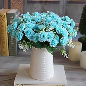 1 ramo de 15 mini rosas artificiales de seda flor de tacto real con hojas verdes para decoración de boda, para novia…