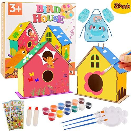 Zhihongfeng Basteln für Kinder im Alter von 4 bis 8 Jahren, Kunsthandwerk für Kinder, 2er-Pack DIY Bird Houses Bastelset, Holzvogelhaus Kunst Bauen und malen, Kinderhaus liefert Partyartikel