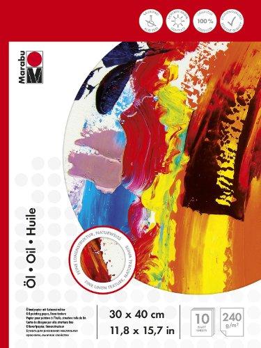 Marabu 1612000000033 - Malblock für Ölmalerei, 240 g/qm, 10 Blatt, 30 x 40 cm, naturweiß, Ölmalpapier mit feiner Leinenstruktur, säurefrei, aus Cellulose, für Struktur- und Reliefeffekte geeignet