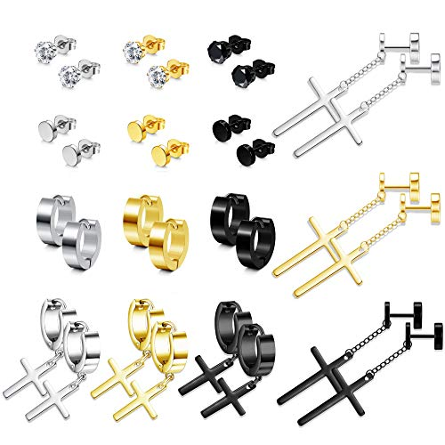 FUNRUN JEWELRY 15 Pairs Stainless Steel Dangle Cross Earring for Women Men Hoop Huggie CZ Stud Earring Hinged Earring Set