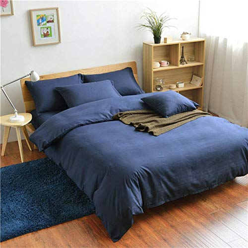 Lili Home Textile Green Purple Navy Bedding Set Duvet Cover 3/4pcs Bed Set Solid Twin Full Queen King Size Bedclothes Adult Sheet,XIANSHANG028,Full