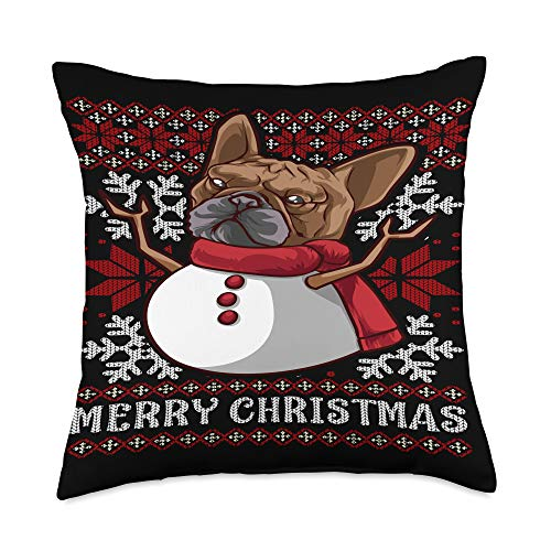 French Bulldog Ugly Christmas Sweater Snowman Desi French Bulldog Ugly Christmas Sweater Snowman Throw Pillow, 18x18, Multicolor