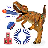 KUARLUBI Dinosaur Toys for Kids, Toy Dinosaurs Foam Dart Gun Realistic Electronic LED Light Up Model Toys with Shooting Roaring for Kids Boys Girls Birthday Gifts