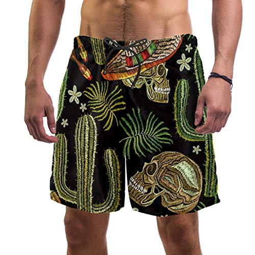 Eslifey Herren Strand-Shorts Totenkopf in Sombrero mexikanischer menschlicher Schädel Sombrero Maracas Kaktus Badehose Elastische Badehose Boardshorts für Herren Gr. S 7-9, multi