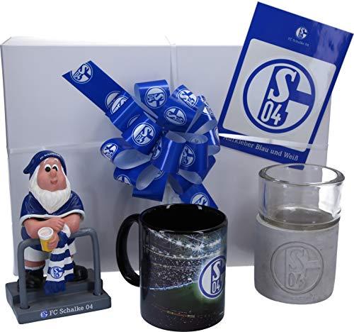 Schalke Fanartikel Geschenkpaket - Garten-Set fertig verpackt in Geschenkverpackung mit Tasse, Gartenzwerg und Windlicht