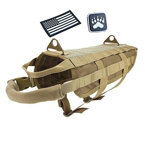 Petsidea Tactical Vest Hund Molle-Harness Adventure Jagd Training Weste mit Griffe Befestigt Glowing in Dark Patches, Hautfarben, X-Large