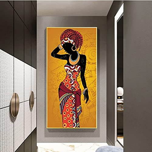 CAPTIVATE HEART Pintura de Arte en Lienzo 30x50cm sin Marco Cuadro de Arte de Pared de Pintura de Mujer Negra y Dorada de Arte Africano para Sala de Estar