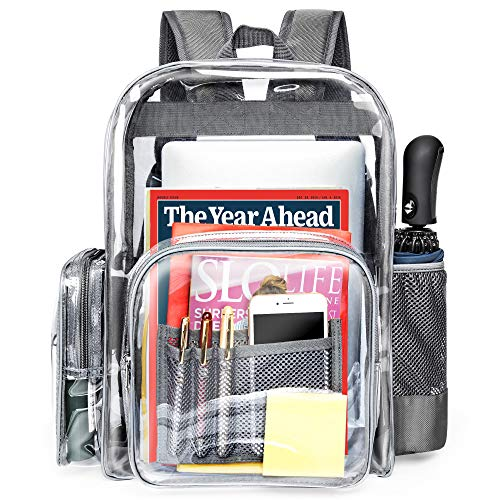 Clear Backpack, iSPECLE Durable School Backpack with Laptop Compartment Clear Backpack Stadium Approved with Reinforced Padded Straps Large Size Transparent Bag for School, Work, Security