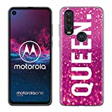Yoedge Motorola One Action Hülle, Silikon Transparent TPU Schutzhülle Handyhülle mit King Queen Muster Motiv Hülle Superdünn Stoßfest Tasche Weich Back Cover Motorola One Action, Queen