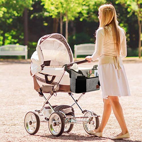 Borsa per passeggino, custodia per passeggino per accessori per bambinio, con 2 portabottiglie e tracolla, utilizzata come borsa a tracolla, universale per tutti i modelli di passeggini (grigio)