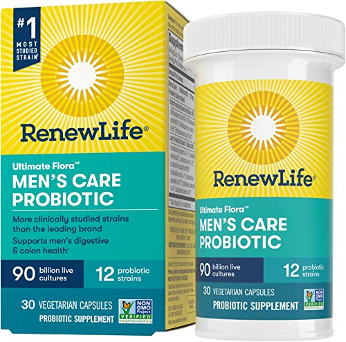 Renew Life Ultimate Flora Men's Care Probiotic, 90 Billion CFU, 30 Capsules; (Package May Vary)