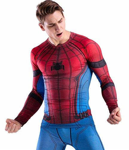 Cody Lundin Hombre de Aptitud de Apretado Culturismo Hombres Manga Larga Camiseta Slim Deporte al Aire Libre t-Shirt (M, Spider-c)
