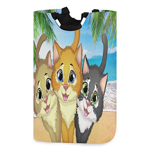 CaTaKu - Cesta para la colada con forma de gato, diseño de palmeras marinas y palmeras para la colada, resistente al agua, fácil de transportar para el dormitorio familiar, 12,6 x 11 x 22,7 pulgadas
