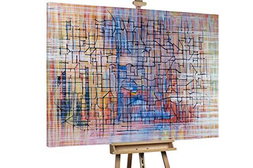 'Aquamarina' 200x150cm | Schwarze Linien auf Bunt Deko | Modernes Kunst Ölbild