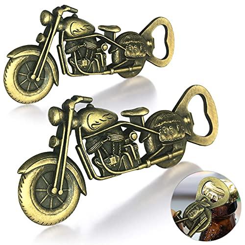 Abrebotellas de motocicleta vintage, abridor de botellas de 2 piezas, divertido regalo de festival personalizado, artilugios geniales, abridor de botellas de herramientas de cocina(bronce)