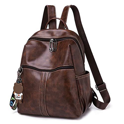 BAGZY Moda Bolso Mochila Antirrobo de Mujer Cuero Bolso Dayback Backpack Bolsa de Mano Señoras de Ligero Impermeable Bolsa de Trabajo Escuela Marrón
