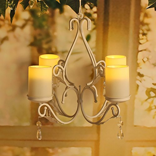 GiveU 3 in 1 Lighting Chandelier, Metal Wall Sconce Hung Table Centerpiece for Indoor or Outdoor Patio, Chain and Candles Included,White