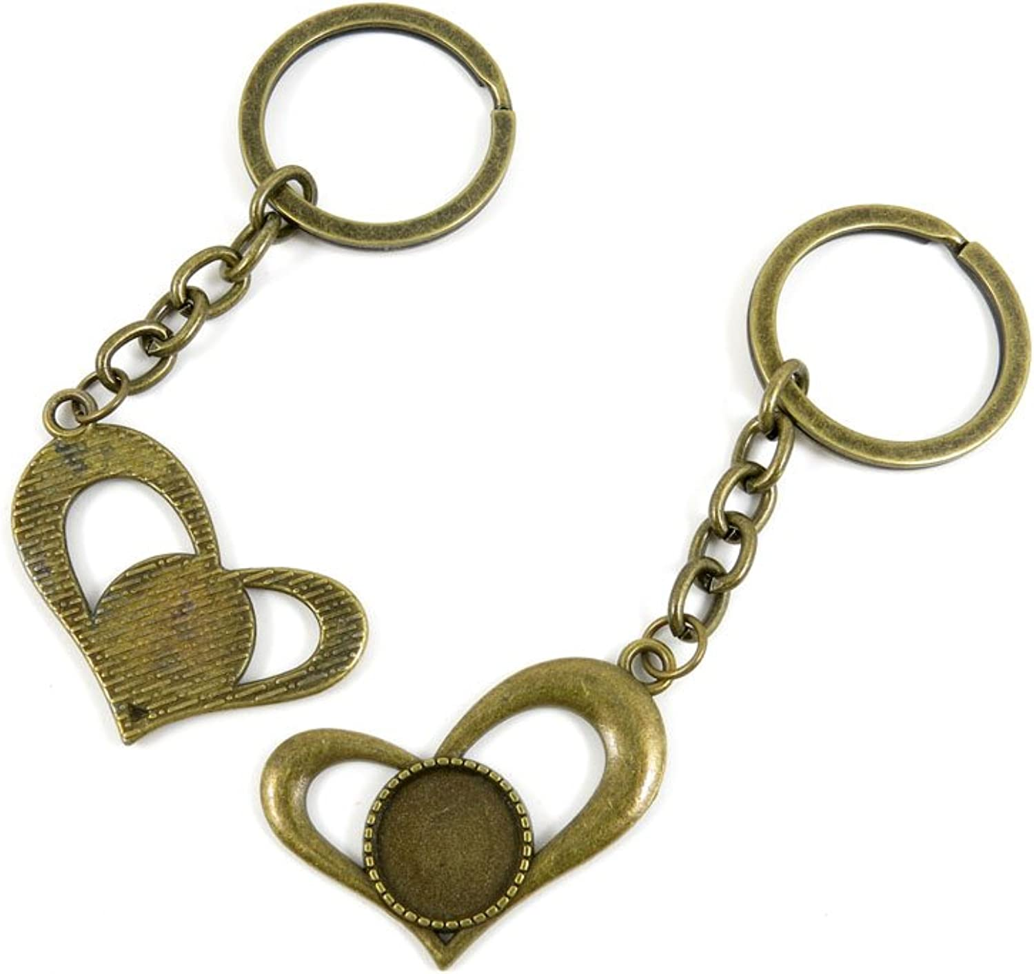 100 PCS Keyrings Keychains Key Ring Chains Tags Jewelry Findings Clasps Buckles Supplies S0DD1 Heart Cabochon Base Blanks