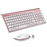 Sanhoton Kabellose Tastatur und Maus, 2.4G Ultradünne Tragbare Kabellose Tastatur-Maus-Sets, Kompatibel mit Windows/Mac/Android-Tablets (Rosé Gold)