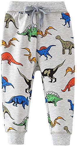 EULLA Jungen Jogginghose Baumwolle Kinder Sweathose Dinosaurier Gedruckt Freizeithose 1-7 Jahre