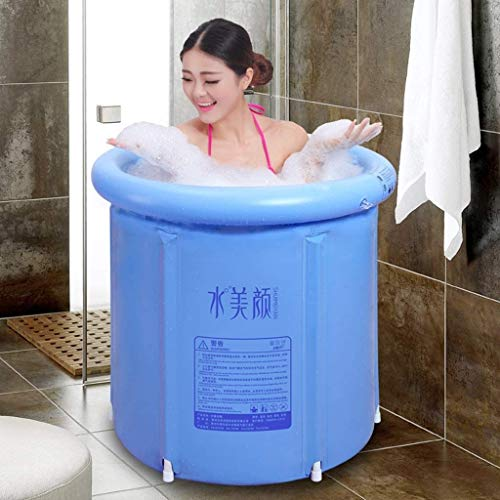 WXF Adult Portable Folding Bathtub Super-Thick PVC Cylindrical Inflatable Plastic Bathtub with Cushion Baby Pools Hot Tubs (Blue)