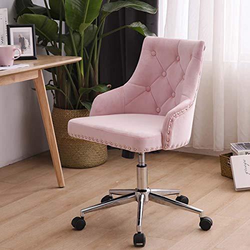 LPEAK Pink Samt Schreibtischstuhl Bürostuhl Ergonomisch Computerstuhl Arbeitsstuhl Drehstuhl Neigungsfunktion Verstellbare Höhe