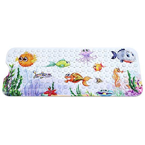 Gearific Kinder Cartoon Badematten, rutschfeste Badewannenmatte mit Saugnapf für Kinder, extra Lange Babyparty Matte -100x40cm