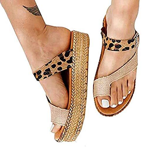 YFWJD Sandalias De Cuña Mujeres Sandalias De Corrección del Dedo del Pie del Juanete Zapatillas Ortopédicas con Plataforma Sandalias Planas De Verano Zapatos De Punta Correctora,Leopardo,38
