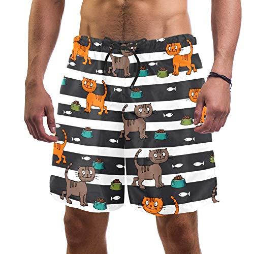 Eslifey Herren Strand-Shorts mit süßem Katzenfutter und Fischfutter, elastischer Badeanzug, Boardshorts für Herren, L Gr. XXL, multi