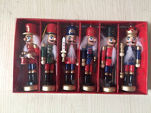 6 pcs per set soldier nutcrackers in classical suit, 5inch/12.7cm tall handmade wooden nutcrackers , christmas tree decoration