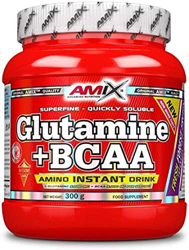 AMIX - Bcaa Glutamina - 300 Gramos - Complemento Alimenticio de Glutamina en Polvo - Reduce el Catabolismo Muscular - Óptimo para Deportistas - Sabor Frutas del Bosque - Aminoácidos Ramificados